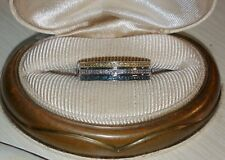 Ross Simons Sterling silver pave Yellow-Blue-white 3 row Diamond band ring