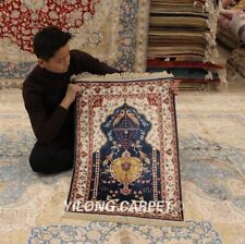 Yilong 2'x3' Blue Traditional Handmade Carpet Great Hand Knotted Silk Rugs 409M