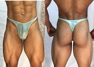 mens metallic seafoam green thong with seam/pouch front custom made to any size