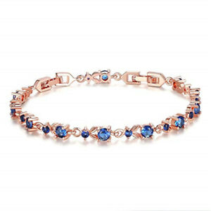 Fashion Womans Exquisite Blue Round Zircon Rose Gold Bracelet Engagement Jewelry