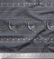 Soimoi Grau Baumwoll-Voile Stoff Blumen & Pfau Block Stoff Meterware-6QH