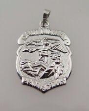14k White Gold Saint Michael Protect Us Religious Medal Badge Pendant Charm