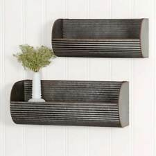 Country new set 2 corrugated distress tin wall displays /nice decor storage