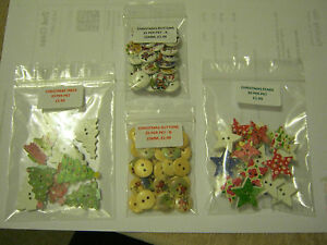 CHRISTMAS BUTTONS!! - ROUND, STARS & TREES.  £1.99 free P&P  **NEW**