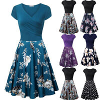 Women's Short Sleeve Cross V- Neck Dresses Vintage Elegant Flared A-Line Dress