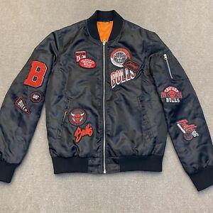 Chicago Bulls Bomber Jacket Full Zip Team Logo Patches Men's Size S Black Red