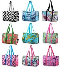 Zip-Top Organizing Utility Tote Beach Diaper Bag 7 Pocket Tote Utility Organizer