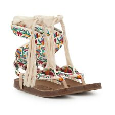 Boho Chic! Sam Edelman Floral Embroidered Lace Up Gladiator Kirby Sandals Size 9