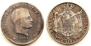 Italia-Napoleon Bonaparte. 5 Liras. 1811. Milan. Plata 24,6 g. ESCASA