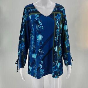 Susan Graver Women's Liquid Knit Blouse Medium Blue Floral V-Neck Long Sleeve