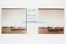 Rhodes Au bord de Lamartine Bateau Plaque stéréo 45x107 mm Vintage