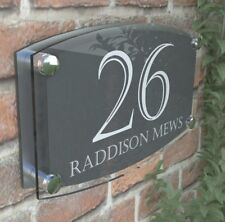 MODERN HOUSE SIGN PLAQUE DOOR NUMBER STREET GLASS EFFECT ACRYLIC NAME 24WA