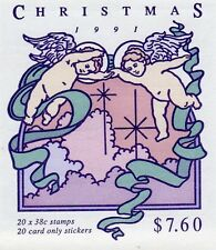 1991 CHRISTMAS AUSTRALIAN STAMP BOOKLET 20 x 38c STAMPS MUH