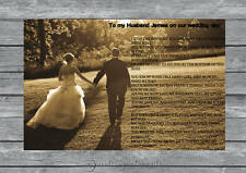 Personalised To My Husband On Our Wedding Day poem A4  Glossy Print
