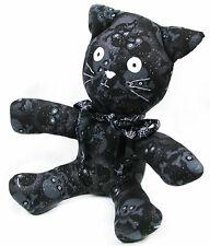 "NEW Halloween SKULLS Stuffed Plush CAT 11"" T Spider Webs RIBBON COLLAR~HANDMADE!"