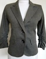 Gibson Womens Blazer Jacket Ruched 3/4 Sleeve Gray Size XS