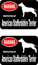 2 protected by American Staffordshire Terrier dog car home window vinyl stickers