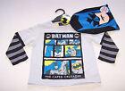 Batman Boys Grey Printed Long Sleeve T Shirt & Mask Size 3 New