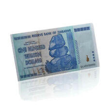 Zimbabwe 100 Trillion Dollars Silver Banknote Bill Novelty .999 Hyperinflation