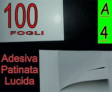 100 fogli di Carta BIANCA adesiva lucida stampante ETICHETTE VINO A4
