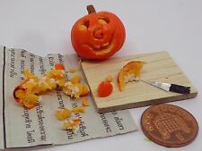 1:12th Handmade Halloween Carving Pumpkin On Board ,Newspaper + Carving knife