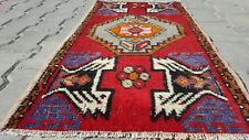 """Exclsuive1'8×3""""' Antique Tribal Wool Pile Cushion Cover Rug Turkey"""