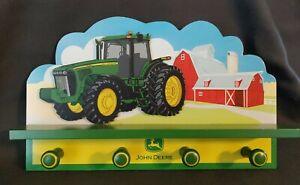"John Deere Tractor Red Barn Combine Wall Shelf Coat Rack Kids Boy Nursery 15""X9"""