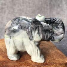 "Natural black Line Stone jasper elephant skull Hand Carved Crystal 1.8"" PP135"