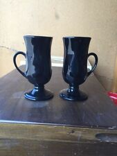 Set Of Two Hall Pottery Irish Coffee Black Pedestal Cups