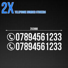 Custom número de teléfono Stickers-Auto / Van / Tienda De Vinilo Autoadhesivos X2