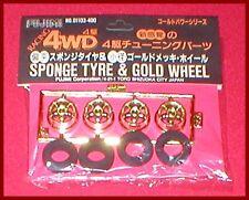 Fujimi Wheel & Tire Racing 4WD Sponge Tire & Gold Wheel Set #1 1/24 Scale NEW