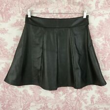 Socialite Black Faux Leather Skirt A-line Size L Large Side Zipper Stretch