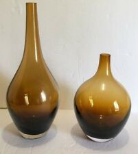 Two beautiful Fieso Canvas Home Art Glass Amber Vase with a different size