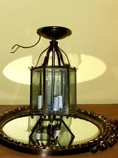 Hexagonal Brass Lantern Chandelier with 6 glass panels,19 th NULCO CENTURY STYLE