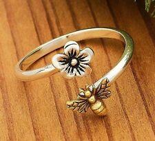 .925 Sterling Silver Honeybee Cherry Flower Golden Bee Adjustable Ring 6 7 8 9