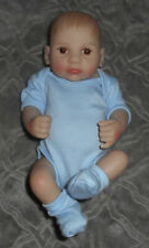 "Realistic 10"" Vinyl Anatomically Correct NEWBORN Baby BOY Doll Blue Onsie Bootie"