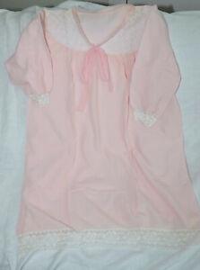 Braves VintaGe 60er Nylon/Perlon Negligee Nachthemd Rosa Spitze 42/44