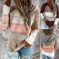 Fashion Womens Patchwork V-Neck Long Sleeve Hooded Sweater Blouse Top Pullovers