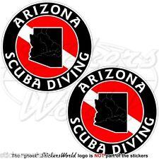 "ARIZONA SCUBA DIVING Flag-Map Shape USA 75mm (3"") Circular Stickers Decals x2"