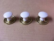 (3) CERAMIC DRAWER PULLS / KNOBS WITH BACK PLATES -- ORIGINAL SCREWS INCLUDED
