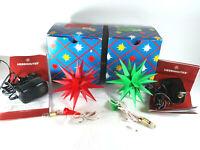 "Lot 2 Vtg Herrnhuter Christmas Moravian Star Plastic Green Red Orig Box 5"" READ"