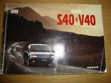 VOLVO S40 & V40 SERIES 1998 MODEL YEAR OWNERS MANUAL HANDBOOK TP 4294/1