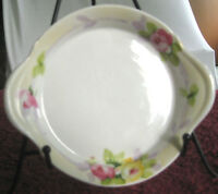 """Antique Nippon 6"""" Saucer Dish Side Handles Floral Design Roses Hand Painted"""