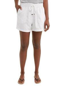 Time and Tru Women's Plus White Linen Shorts Size 3XL XXXL 3XG 22