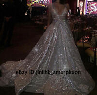 New Sparkly Sexy V-neck Bling Formal Dress Pageant Evening Party Long Prom Gowns