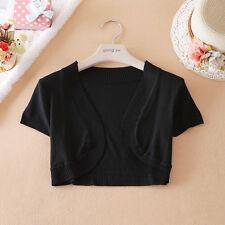 Womens Short Sleeve Knitwear Sweater Knitting Tops Cardigan Shawl Outwear blouse