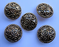 34mm Extra Large Antique Gold Domed Scroll Vintage Sewing Buttons  Set of 5
