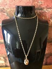 Vintage 9ct Yellow Gold Masonic Fob Pyramid Ball Orb & Cross Pendant Chain & Box