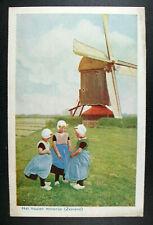 POSTCARD Het Houten Molentje Zeeland Wooden Windmill Netherlands; Three girls