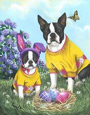"""Precious Pets Garden Flag - Boston Terrier Spring Bunny 12"""" x 18"""" ~ Charity!!"""
